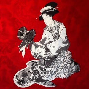Red Scarf with Geisha